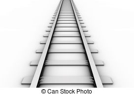 Single curved railroad track isolated Clipartby megastocker9/301 Rail track  - 3D rendered illustration of a railroad track.