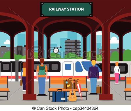 ... Railway station illustration - Railw-... Railway station illustration - Railway station with.-9