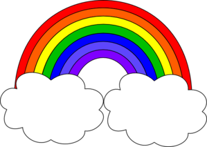 rainbow with clouds clipart