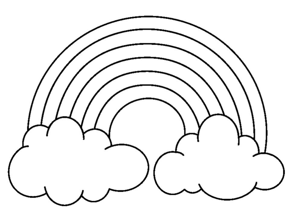 Rainbow black and white photos of coloring pictures of rainbows without clouds clip art