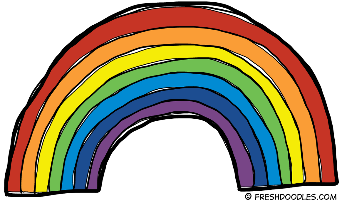 Rainbow clipart black and white free clipart images 2