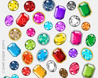 Rainbow gems clipart - Digital Clip Art - Personal and commercial use