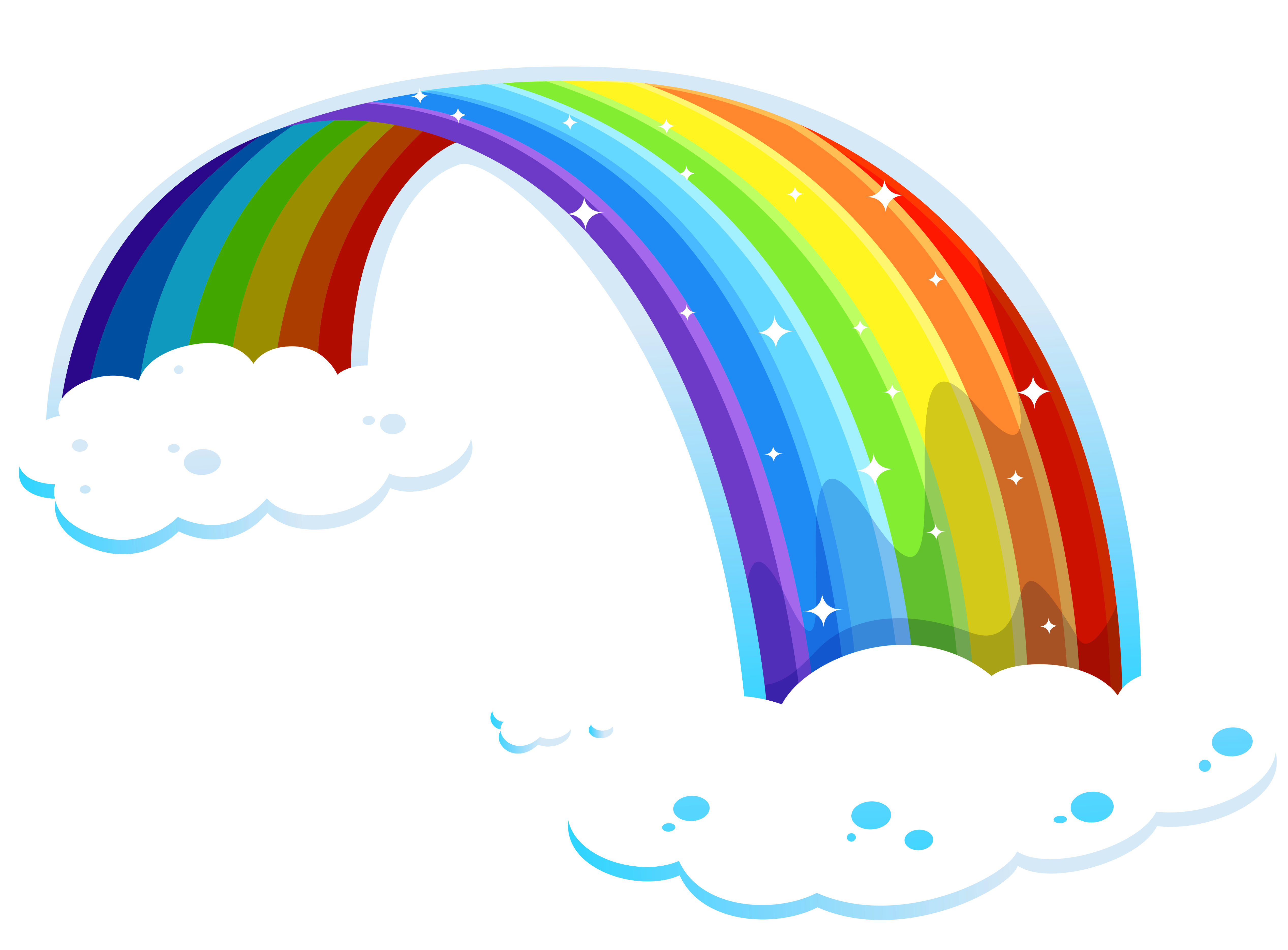 Rainbow With Clouds Png Clipart