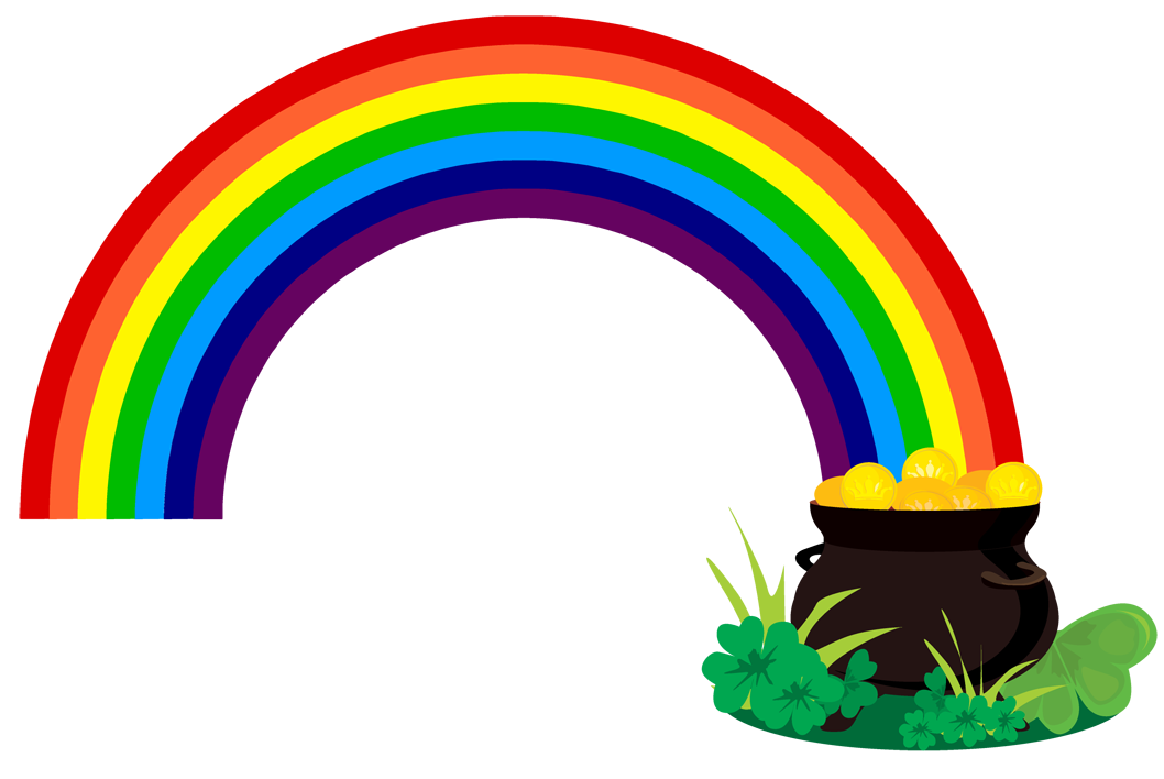 Rainbow With Pot Of Gold Clipart Black And White | Clipart library