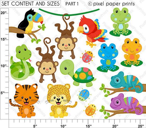 Rainforest Animals Set De Clip Art Y Pap-Rainforest Animals Set de Clip Art y Papeles por pixelpaperprints-12