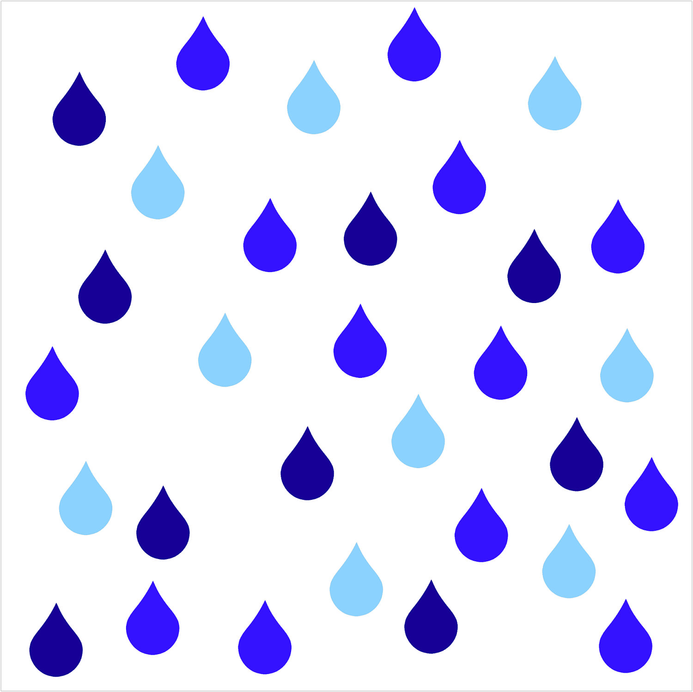 Rainy Day Raindrop Vinyl Wall - Clipart Raindrops