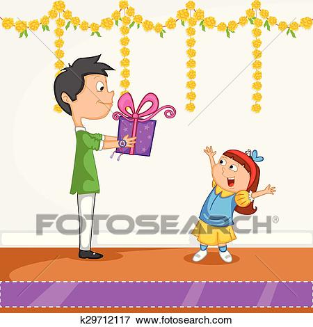 Brother and Sister in Raksha  - Rakhi Clipart