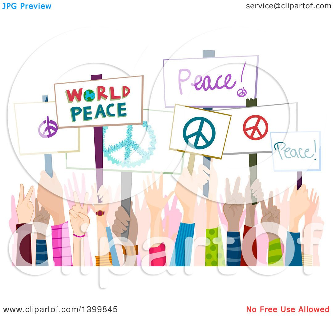Clipart of Hands Holding up Peace Rally -Clipart of Hands Holding up Peace Rally Signs - Royalty Free Vector  Illustration by BNP Design Studio-8