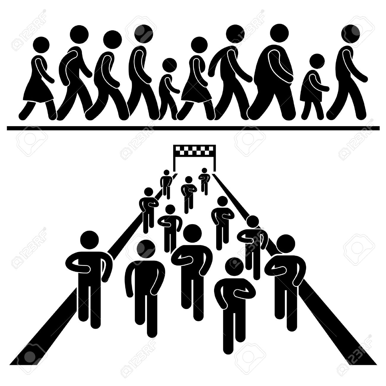Community Walk and Run Marching Marathon-Community Walk and Run Marching Marathon Rally Stick Figure Pictogram Icon  Stock Vector - 17968700-20