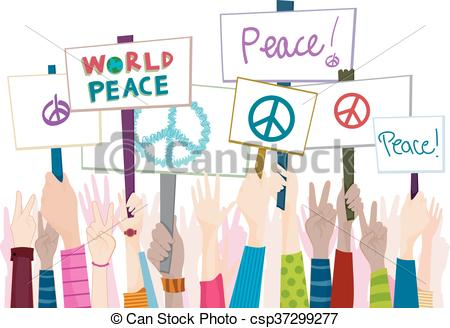 Hand Placards Peace Rally - csp37299277