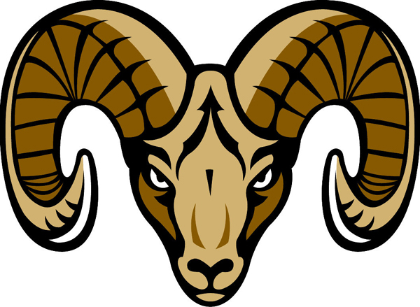 Ram Head Team Mascot Color . - Ram Head Clip Art