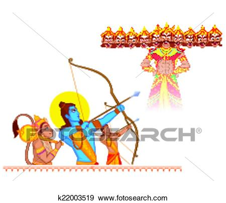 Clip Art - Rama killing Ravana during Dussehra. Fotosearch - Search Clipart,  Illustration Posters