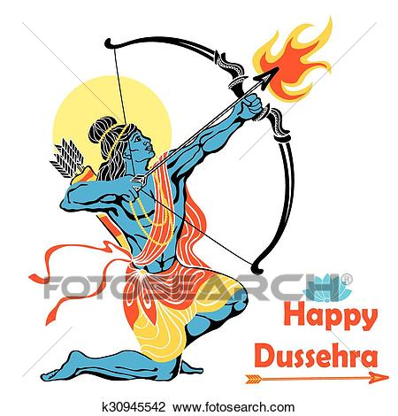 Clipart - Lord Rama with bow arrow.Happy Dussehra. Fotosearch - Search Clip  Art