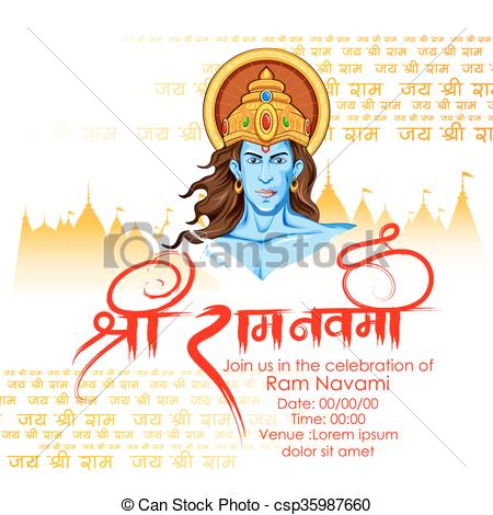 Lord Rama in Ram Navami background - csp35987660