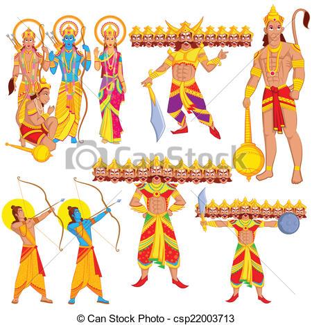Lord Rama, Laxmana, Sita with Hanuman - csp22003713