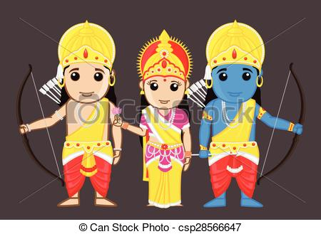 Lord Rama, Mata Sita and Laxman - csp28566647