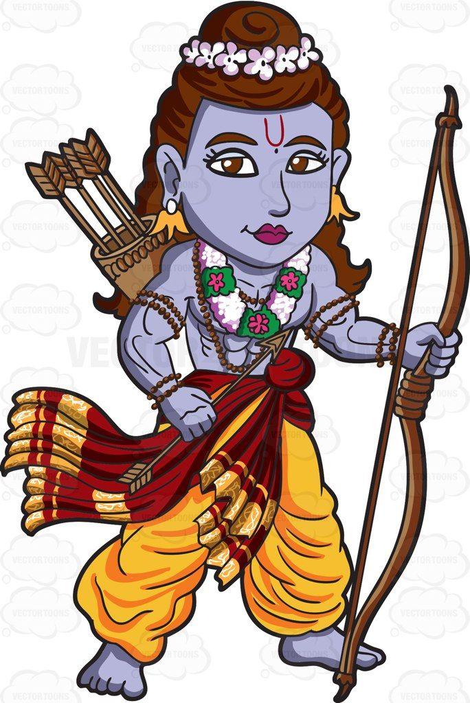 The Hindu God Rama Cartoon Clipart - Vector Toons