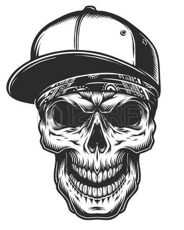Illustration of skull in bandana and baseball cap. Monochrome line work.  Isolated on white