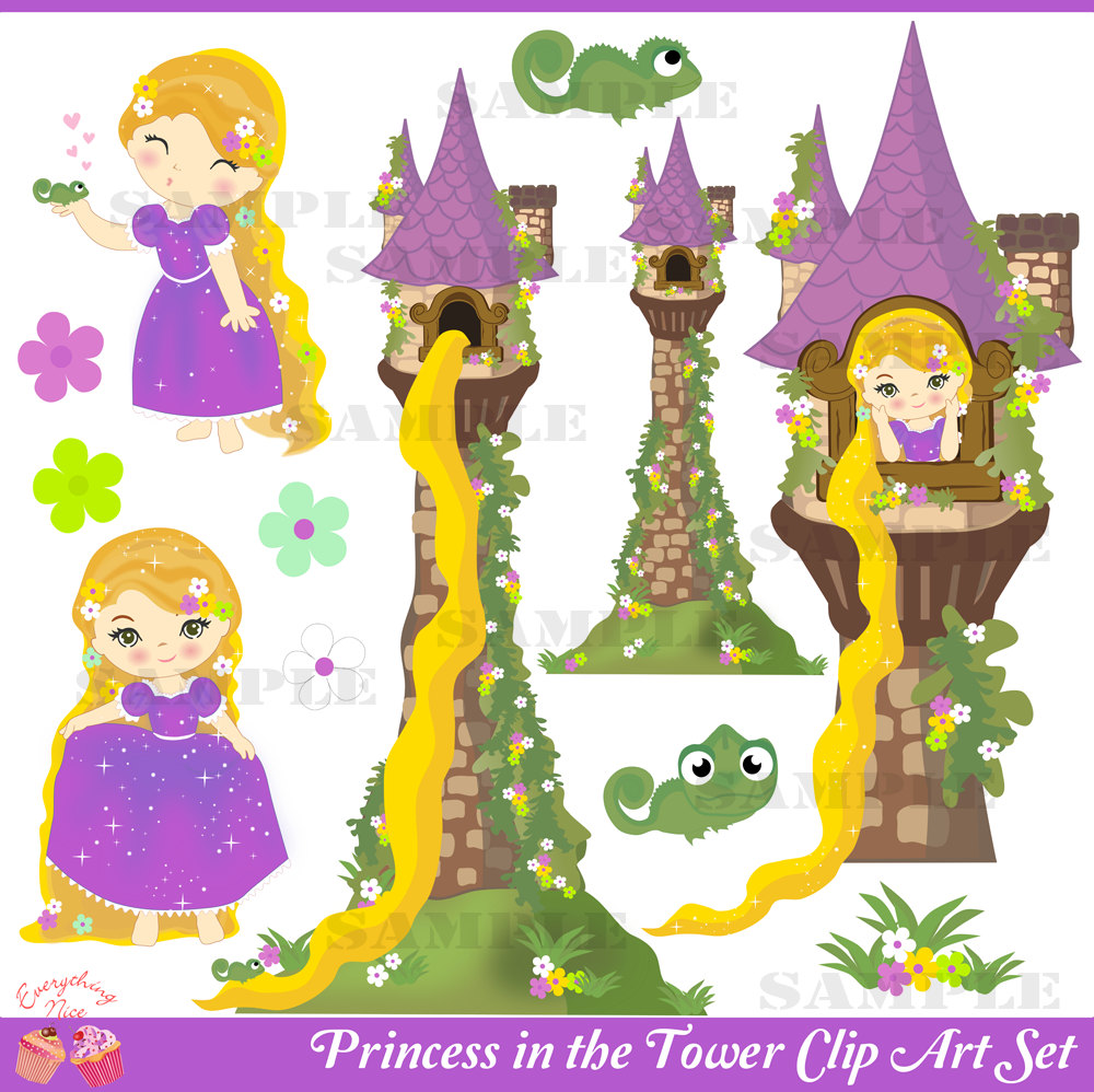 Rapunzel Tower Clip Art Princess In The -Rapunzel Tower Clip Art Princess In The Tower Clip Art Set By-6