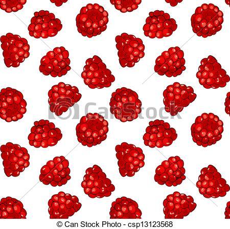 Seamless pattern with fresh juicy raspberries