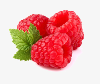 three raspberries, Fruit, Red, Leaf PNG Image and Clipart