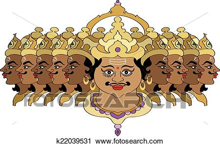Clipart - Ravana The Legendary Emperor of Lanka . Fotosearch - Search Clip  Art, Illustration