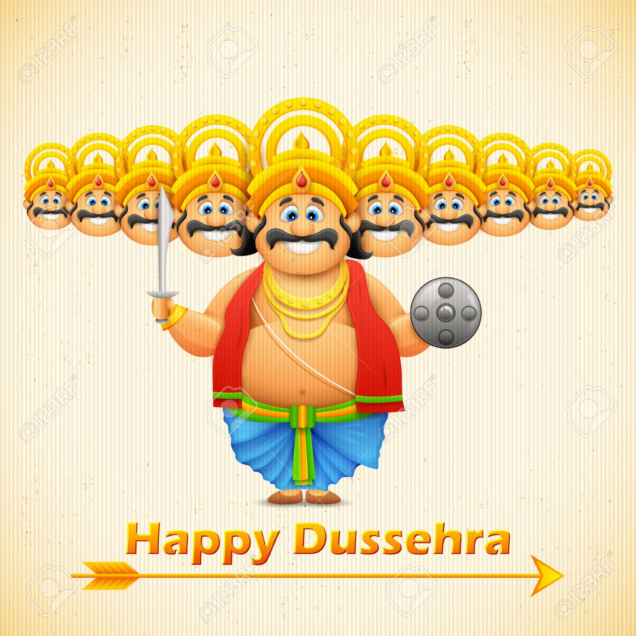 illustration of Ravana with ten heads for Dussehra Stock Vector - 25737078