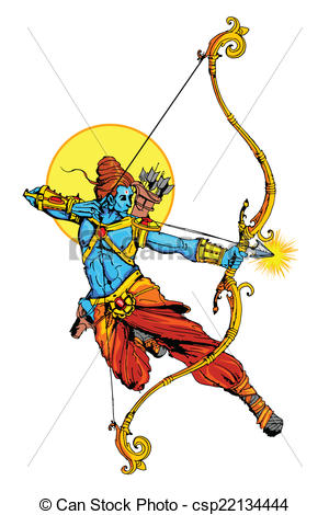Lord Rama with bow arrow killimg Ravana - csp22134444