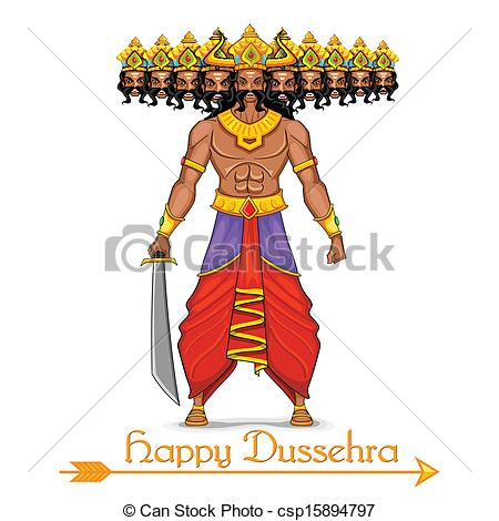 Ravana with ten heads for Dussehra - csp15894797