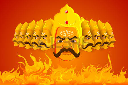 vector illustration of Ravana burning in fire on Dussehra