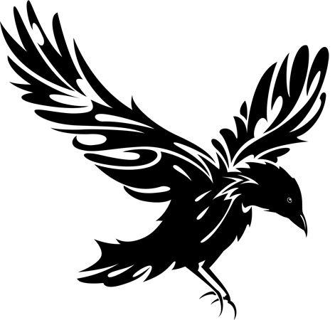 raven clipart black and white