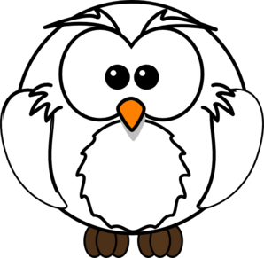 reading owl clipart black and white