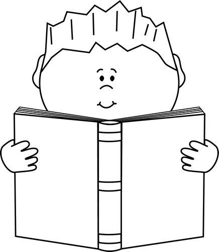 Reading a Book Clip Art Image - black an-Reading a Book Clip Art Image - black and white .-8