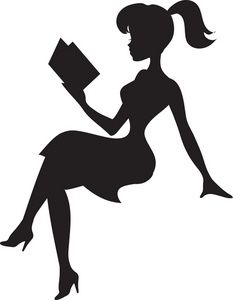 Reading Clipart Image - Silhouette of a Pretty Young Lady Reading .