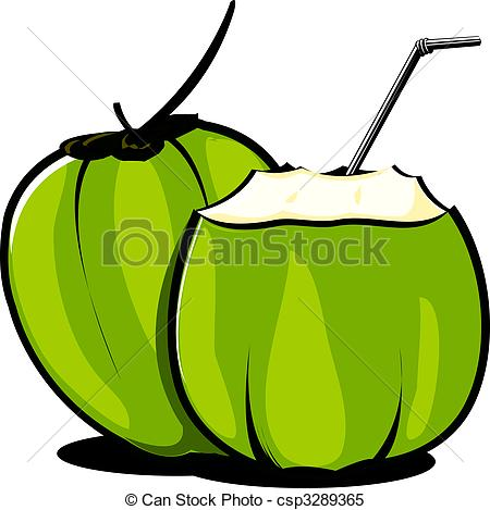 Realistic coconut Clipartby dvarg7/1,047; Coconut - Illustration of tender coconuts and straw