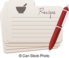 ... recipe cards with red pen