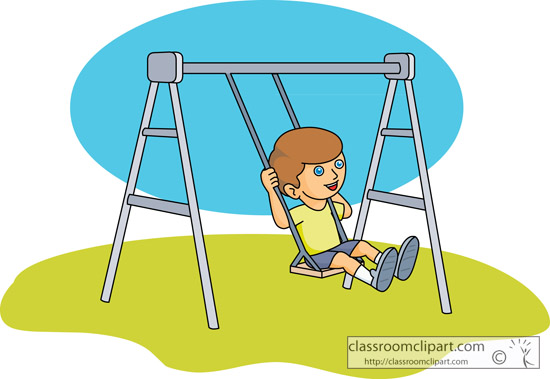 Recreation Girl On A Playground Swing Set Classroom Clipart