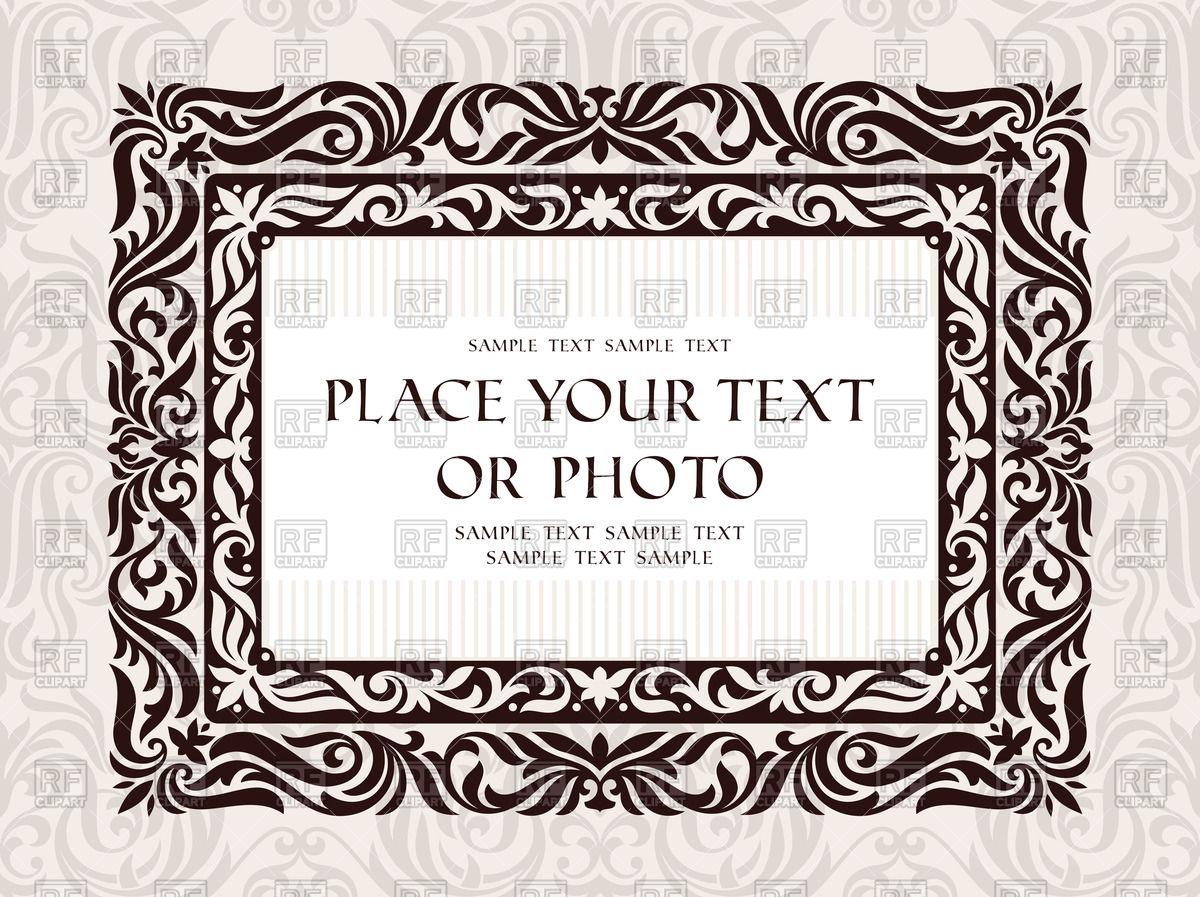 Vintage rectangular frame with foliar or-Vintage rectangular frame with foliar ornament Royalty Free Vector Clip Art-8