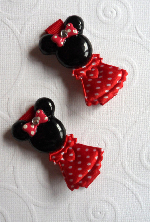 Red and White Satin Polka Dot Dress MINNIE MOUSE with Rhinestone center hair bow on hair