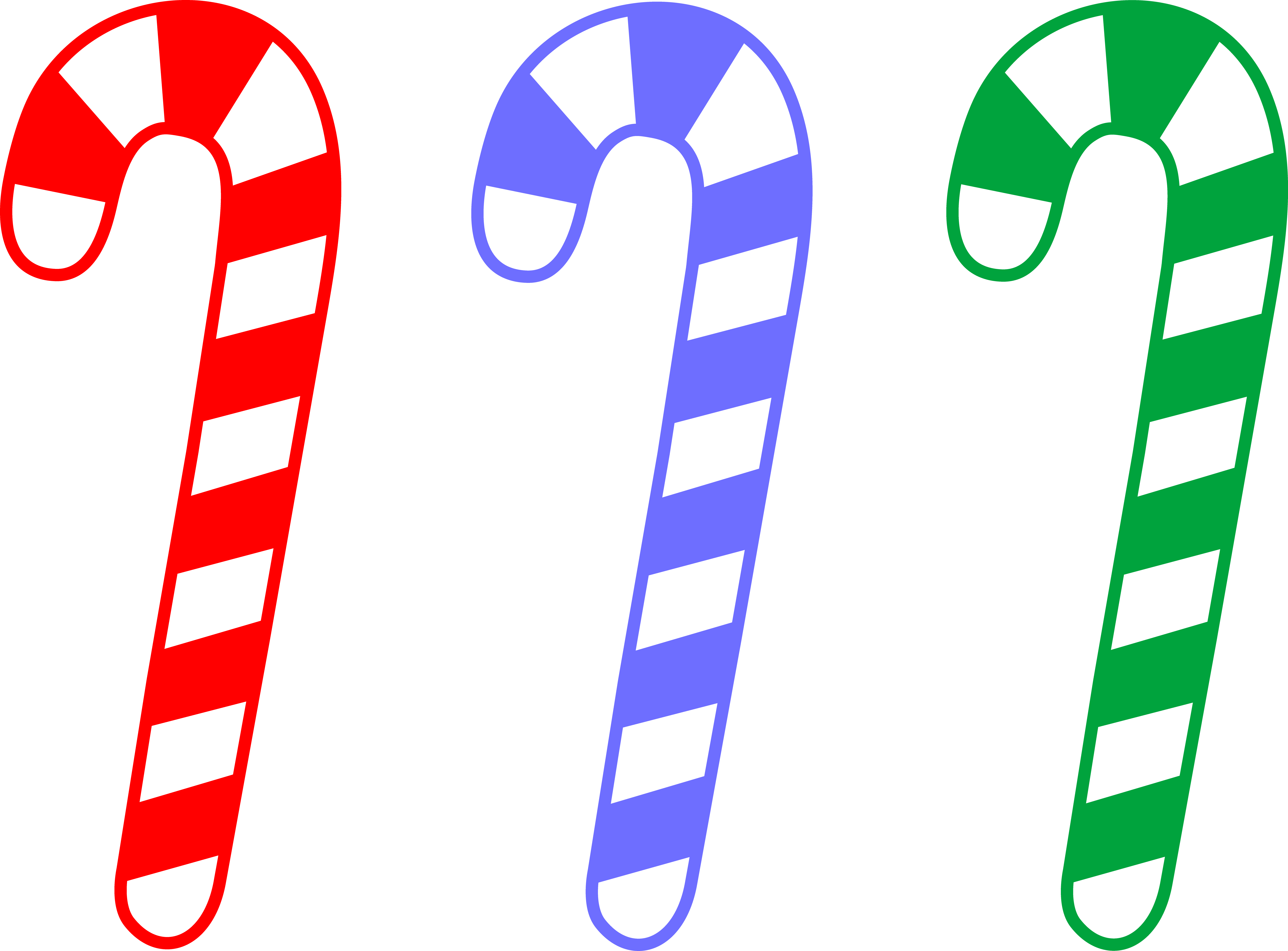 Red Blue and Green Candy Canes - Free Clip Art