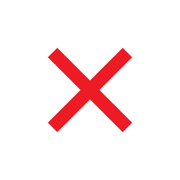 Cross sign element. Red X icon isolated on white background. Simple mark  graphic design