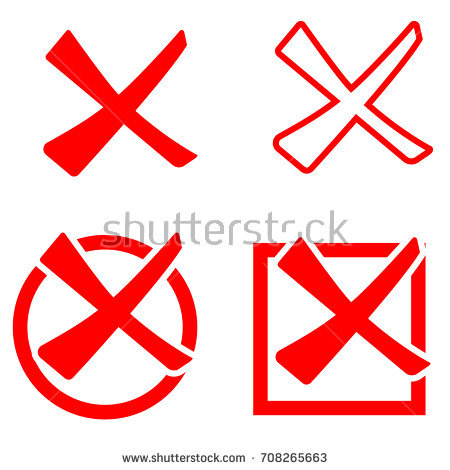 Red cross mark set isolated on white background. Circle and rectangle shape  symbols NO button