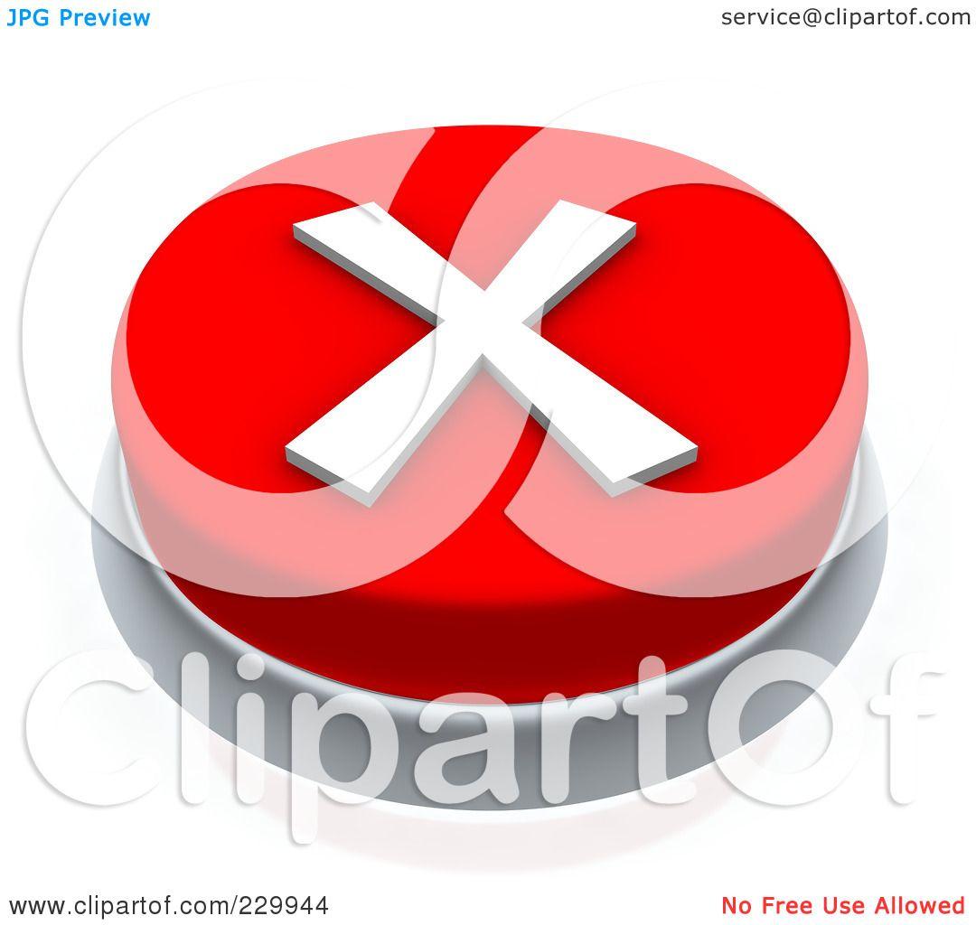 Royalty-Free (RF) Clipart Illustration O-Royalty-Free (RF) Clipart Illustration of a 3d Red X Mark Push Button by  Jiri Moucka-13