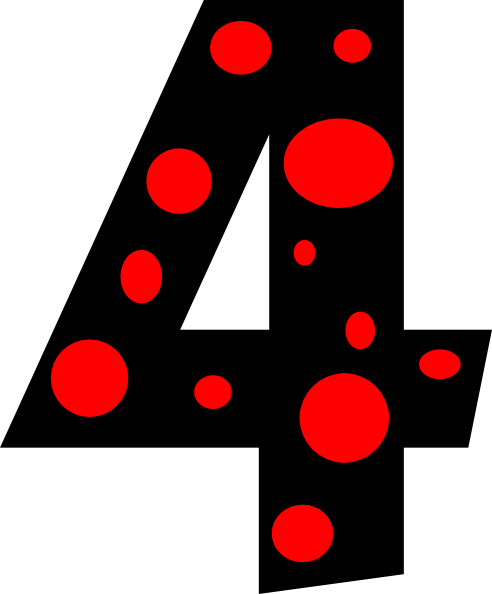 Red Dot Number 4 Clipart