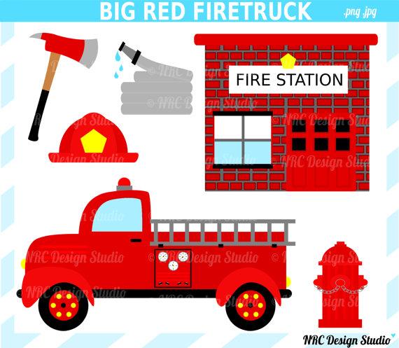 Red Firetruck Clip Art Digital Firetruck Fire Station Hydrant