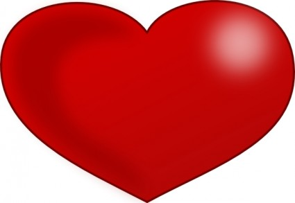Red Glossy Valentine Heart Clip Art Free Vector In Open Office Drawing