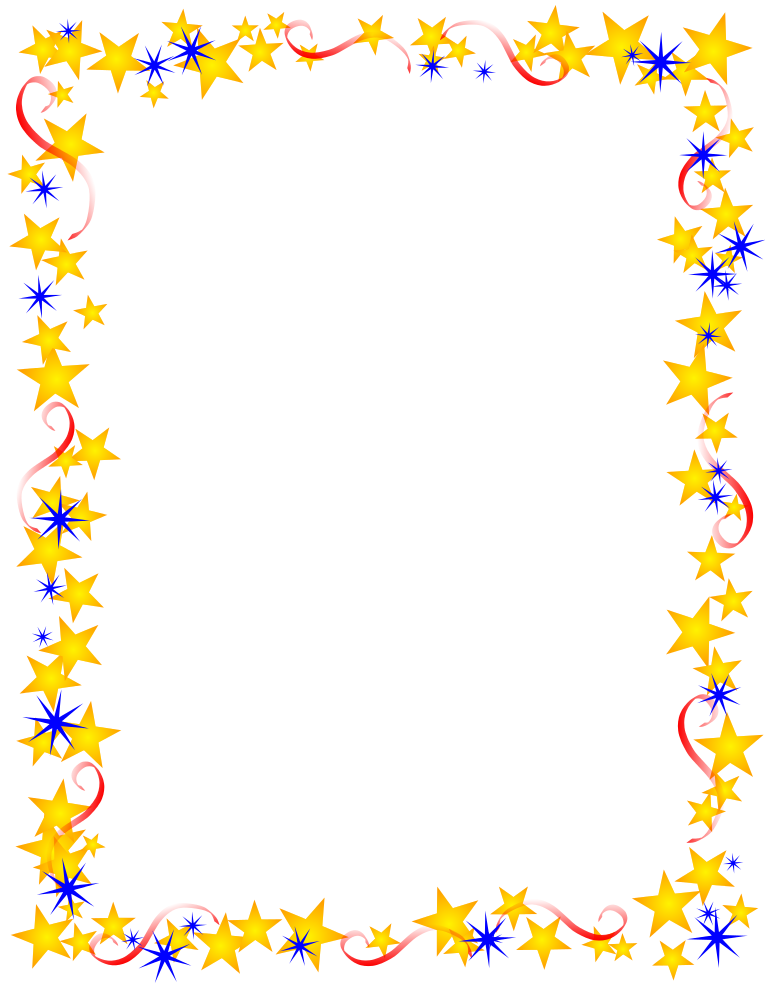 Red Gold And Blue u003cbu003e - Star Border Clipart