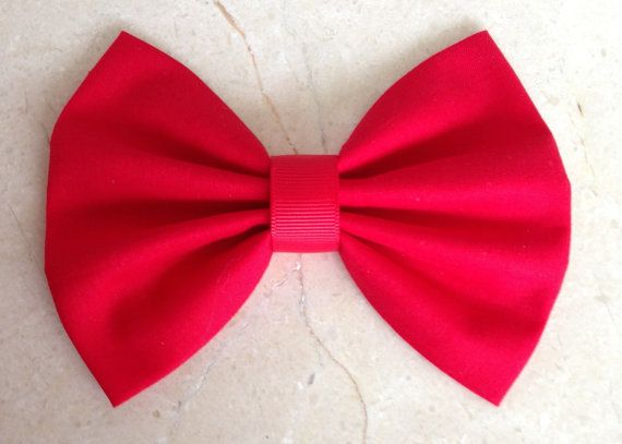 Red Hair Bow Clip - Big Large Bow - Adult Hair Clips - Fabric Bow -
