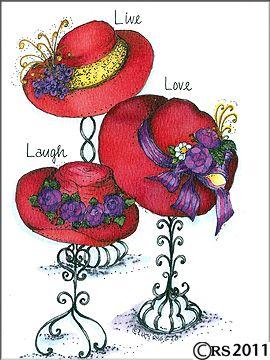 Red Hat Ladies Clip Art | 4072 Live Love-Red Hat Ladies Clip Art | 4072 live love laugh birthday card w hats live love laugh birthday .-12