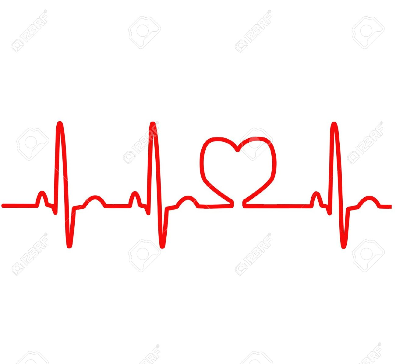 Red Heart Ekg Clipart #1